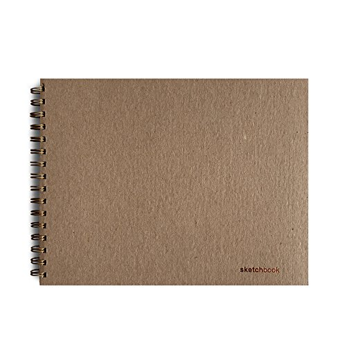 Minimalist SketchBook (11 x 8.5 inches) Side-Bound Sand Sketchbook -- 100% Recycled Covers -- Durable Quality Paper, 70 Blank Sheets