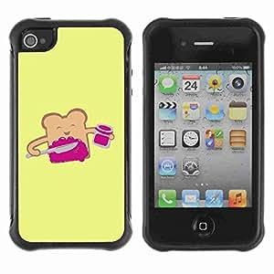 A-type Arte & diseño Anti-Slip Shockproof TPU Fundas Cover Cubre Case para Apple iPhone 4 / 4S ( Funny Toast Illustration )