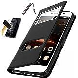 """Etui Housse Coque Asus ZenFone 4 Max Plus ZC554KL Noir ( 5.5"""") / Zenfone 4 Max Pro ZC554KL + FILM VERRE TREMPE + STYLET"""
