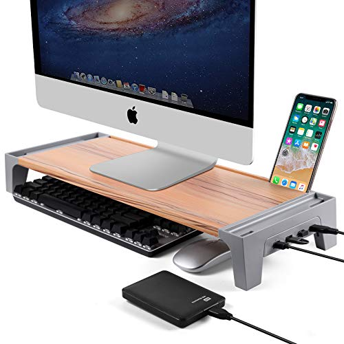 Heatfar 24″ Premium Monitor Stand Riser Desk & Tabletop Organizer Computer Monitor Riser Computer Stand With USB Hub Phone Stand for Computer Desktop Laptop for home & office