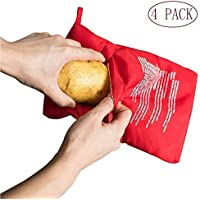 Pack of 4 Microwave Potato Cooker Alxiiii Reusable Microwave Bag for Potato Red Potato Express Pouch Cooking in Just 4 Minutes