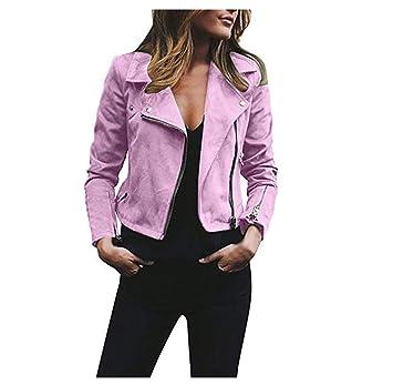 Hoverwin Chaqueta Mujer Casual Cardigan Top Abrigos Retro Rivet Zipper Up Manga Larga Bomber Jacket Outwear (L, Morado): Amazon.es: Hogar