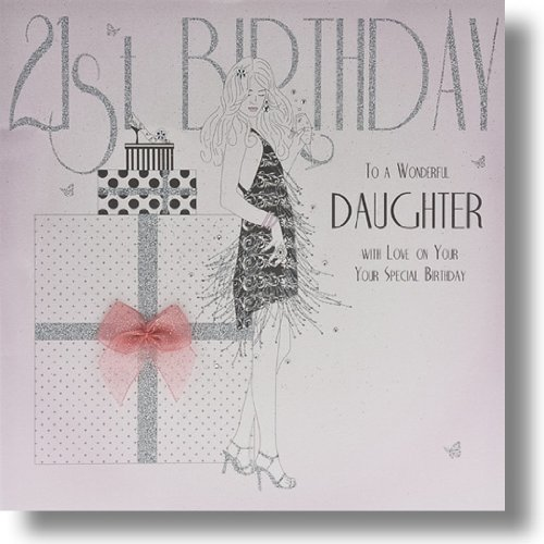 21st Birthday To A Wonderful Daughter Large Handmade Birthday Card