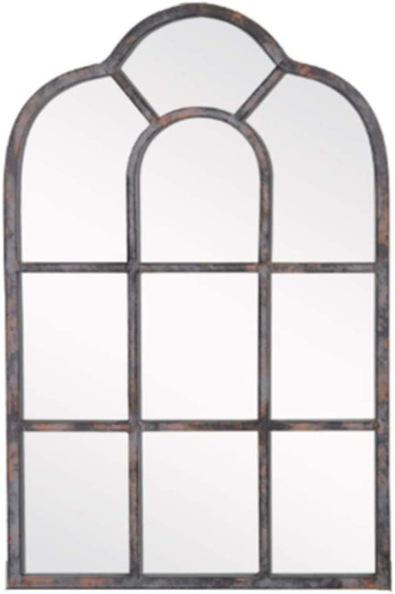 NineShow Vintage Window pane Mirror, Decorative Arch Wall Mirror, Distressed Metal Frame Mirror Wall Decor, Gray