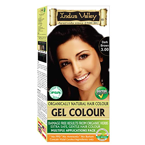 Indus Valley Natural Herbal Permanent Gel Dark Brown 3.00 Hair Coloring Kit