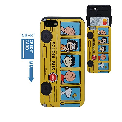 Cheap [iPhone 7 Wallet Case/iPhone 8 Wallet Case] Kubrick PEANUTS Snoopy Charlie Brown Slide Bumper Phone Case Dual Layer Card Wallet Holder (PEANUTS School Bus)