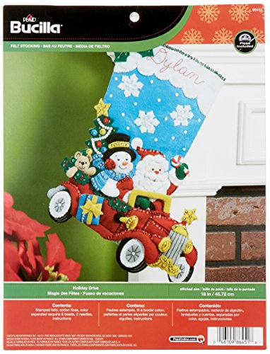 Bucilla 18-Inch Christmas Stocking Felt Applique Kit, 86451 Holiday Drive by Bucilla