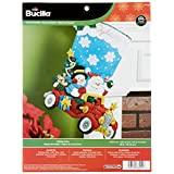 Bucilla 86451 Bota de Navidad con aplicación de Fieltro, 45.72 cm, diseño de Paseo navideño