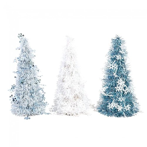 Holiday Essentials Mini Tinsel Christmas Tree with Snowflake Icons by
