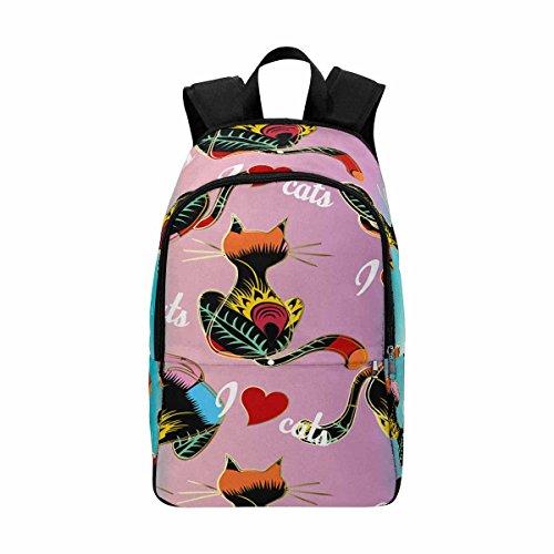 Cute Cat Stripe Custom Casual Backpack School Bag Travel Daypack