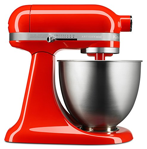 KitchenAid KSM3311XHT Artisan Mini Series Tilt-Head Stand Mixer, 3.5 quart, Hot Sauce (Best Bread Recipe For Kitchenaid Mixer)