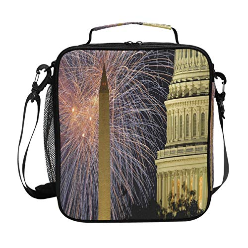 The Beauty Of Washington'S Birthday Lunch Bag Womens Insulated Lunch Tote Containers Zipper Square Lunch Box for Kids Men Adults Boys Girls ()