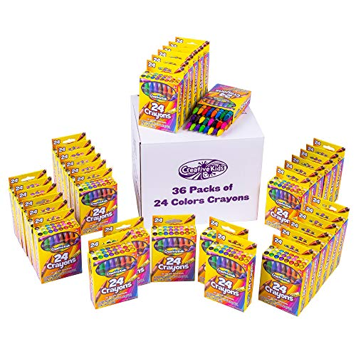 Creative Kids Bulk Classroom Crayons – 36 Packs of 24 Bright, Vibrant Wax Coloring Crayons for Preschool, Kindergarten, Elementary School & Art Class Teachers – ASTM Certified Non Toxic