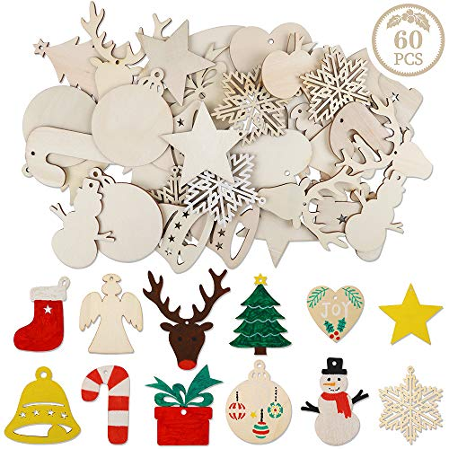 AGEOMET 60pcs Christmas Wooden Ornaments Unfinished Wood Slices 12 Shapes Craft Wood Kit with Twine for Gift Box Tag Crafts Christmas Tree Hanging Decorations (Ornaments Christmas Shapes)