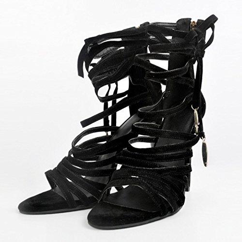Sandalias de Vestir Mujer garlos Cuero Negro de para Hgqwd