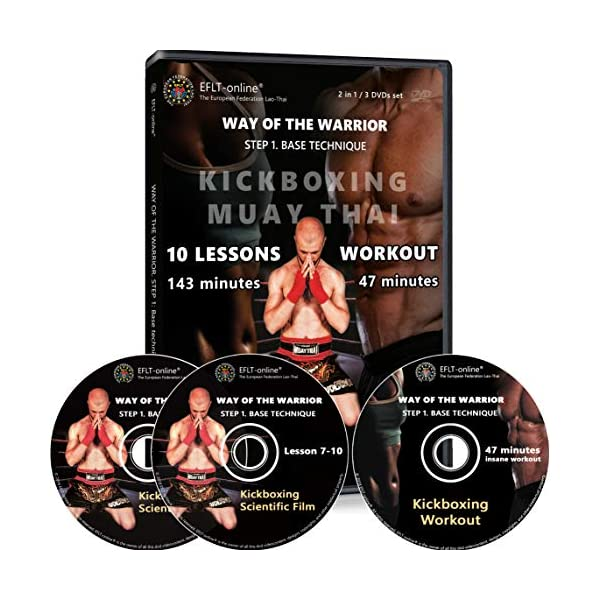 Kickboxing DVDs workout for women men 47 minutes - and Instructional kickbox Muay Thai video training 10 lessons 143 minutes - Cardio exercise - Way of The Warrior Step 1 Base technique - 2 in 1 1