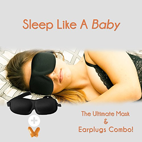 [TOP RATED] Sleep Mask with Earplugs PREMIUM Quality Contoured Eye Mask - Lightweight With Adjustable Strap - Blocks The Light Completely - Best For Travel, Insomnia or Quiet Night Sleep by SleePedia (Image #2)