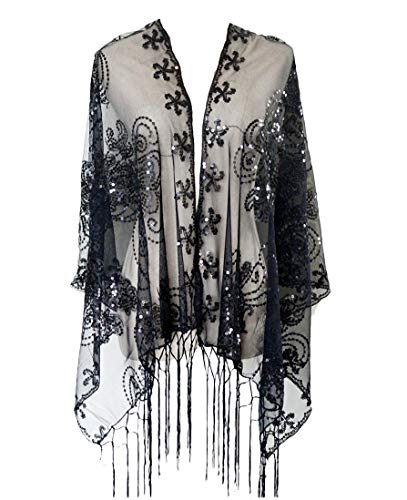 L'vow Women's Glittering 1920s Scarf Mesh Sequin Wedding Cape Fringed Evening Shawl Wrap(Black) (Shawl With Fringe)