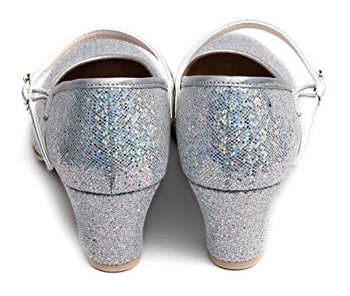 Ladies Dance Glitter Stage Glitter Shoes Damen Bühne 2 Girls Splitter Sparkly Sliver Charakter Sparkly 2 Character Showtime Mädchen Showtime Tanzschuhe T4vwqf