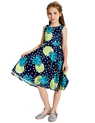 Uideazone Girls Pineapple Sleeveless Sundress for Party 6-7 Years