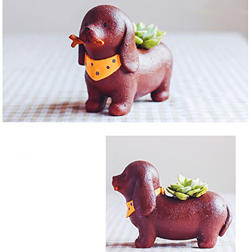 Messagee Flower Plant Animal Pot Succulent Planter Container Holder Office Table Garden Decoration Brown (Animal Bench)