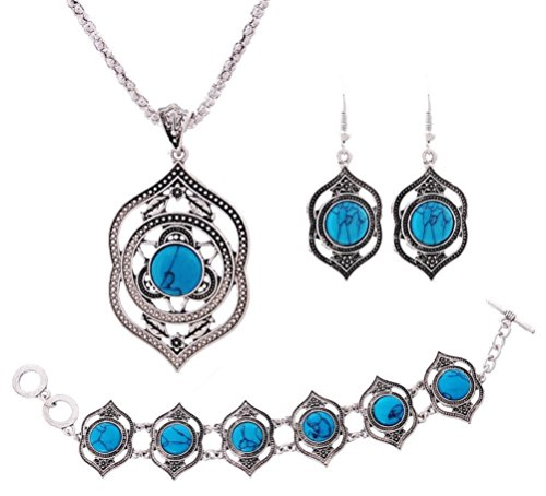 Retro Style Tibetan Silver Blue Turquoise Earrings, Necklace and Bracelet Jewelry Set for ()