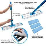 large area sweeper - Microfiber Mop Pads 3 Pack – Reusable Replacement Heads – Large Commercial Quality Dust Mop Refill – Used by Professional Cleaners – Antimicrobial – Suitable for Dry and Wet Mopping