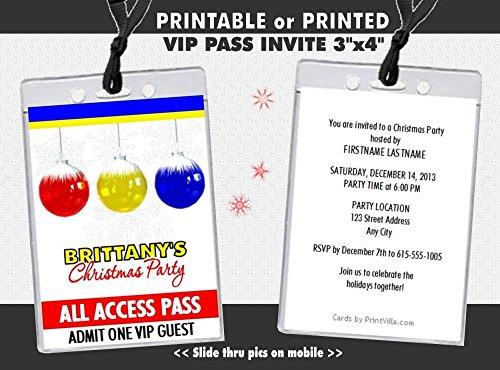 Printable Holiday Ornaments (Snowflake Ornament Holiday Party VIP Pass Invitation, Printable or Printed)