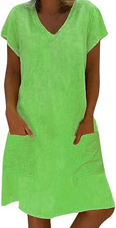 Vestidos Mujer Casual Verano 2019 Vestido de Mujer Estilo Femenino Camiseta de algodón Vestido Casual de Talla Grande para Mujer Camisa Vestido: Amazon.es: Hogar