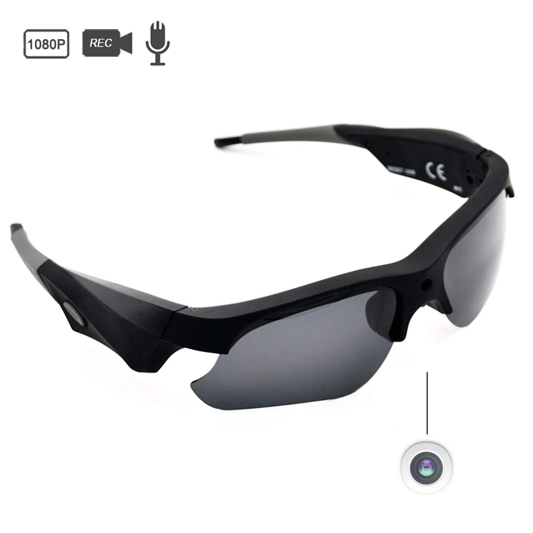 Sunglasses Camera Full HD 1080P Wide Angle for Sport,Sunsome Mini Video Camera with UV Protection Polarized Lens