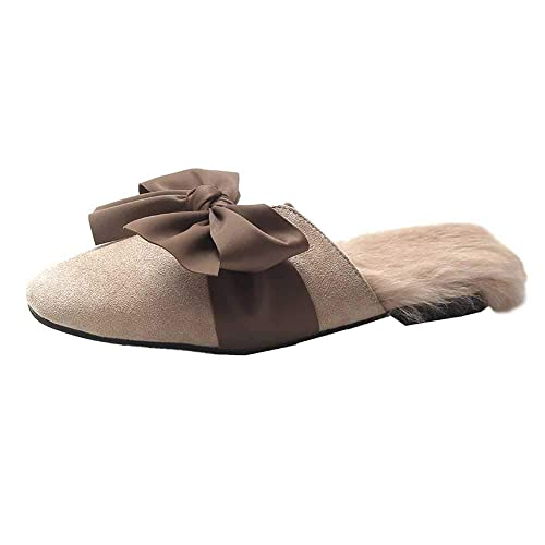 61bfa53e5 Amazon.com | Flats Mules for Women, Suede Slingback Faux Fur Slip on  Outdoor Velvet Bowknot Dress Slippers, Winter Warm Classic Loafer Shoes |  Shoes