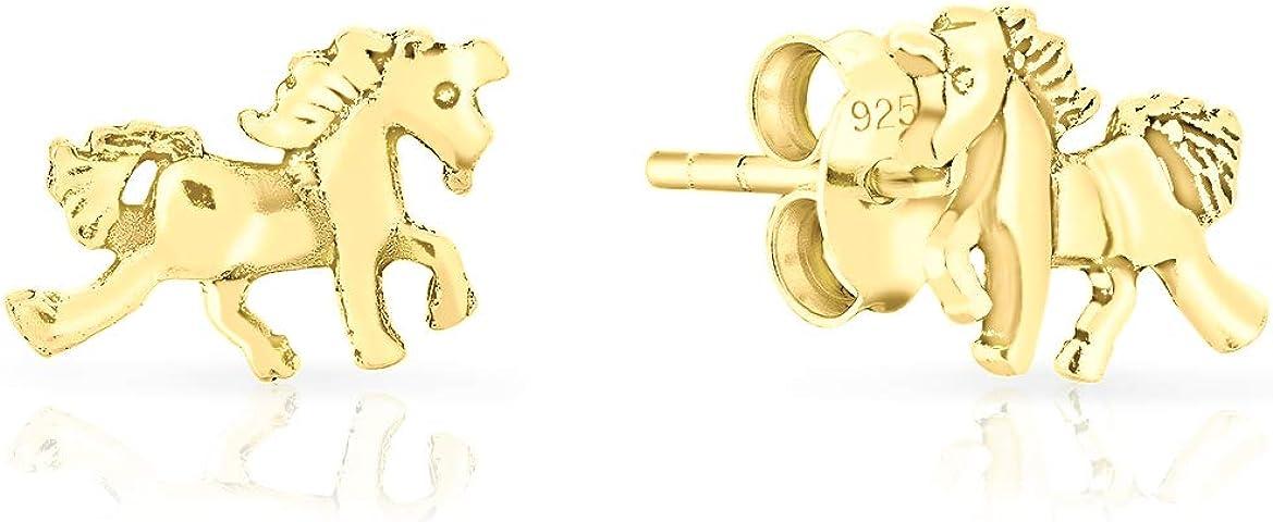 DTPsilver® Aretes/Pendientes Pequeños de Plata de Ley 925, Chapado en Oro Amarillo o Rosa - Caballo Unicornio - Dimensión: 11 x 7 mm