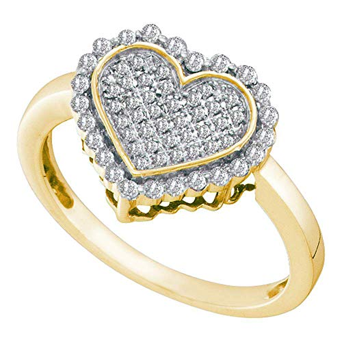 FB Jewels 10kt Yellow Gold Womens Round Diamond Heart Cluster Ring 1/3 Cttw (I2-I3 clarity; J-K - Heart Cluster Diamond Ring