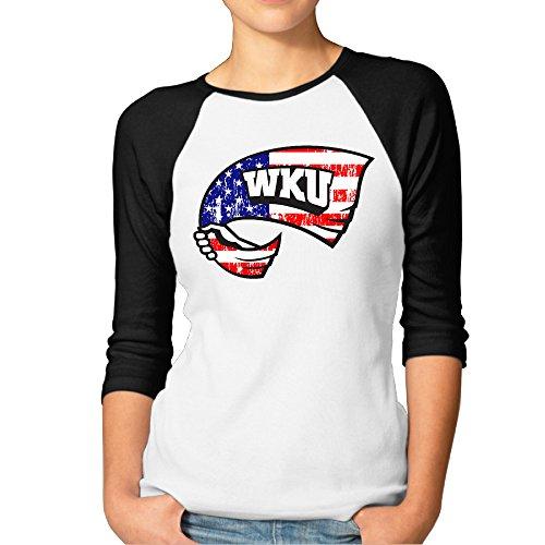 MBMH Women's Western Kentucky University Raglan Tee Baseball Shirt Black Size L