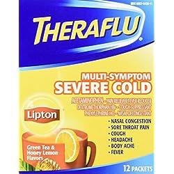 TheraFlu Multi Symptom Severe Cold Cough, Green Tea and Honey Lemon, 12 Count