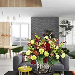 Grunyia Artificial Fake Flowers Silk Tiny Rose Flowers Wedding Bridal Bouquet Home Decoration,Pack of 4 5