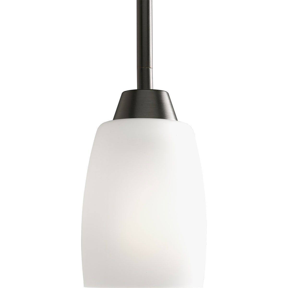 Progress Lighting P5108-20EBWB 1-Light Compact Fluorescent Mini-Pendant with Elegant Arm and Clear Etched Glass Using A GU24 Lamp, Antique Bronze
