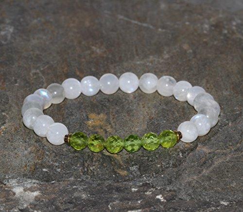 Dainty Moonstone & Peridot Bracelet Handmade 6.5mm Moonstone and 5.5mm Faceted Peridot Beaded Gemstone Bracelet Wrist Mala Beads Unisex Gift