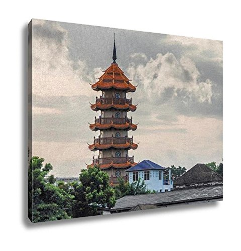 Ashley Canvas Bangkok Thailand Skyline View Wall Art Decor Stretched Gallery Wrap Giclee Print Ready to Hang Kitchen living room home office, 24x30 by Ashley Canvas