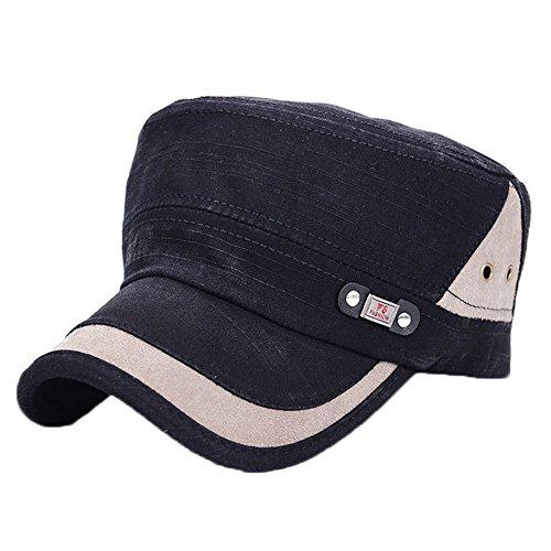 ChezAbbey Men's Adjustable Accent Cadet Hat Solid Brim Flat Top Cap with Metal Rivets