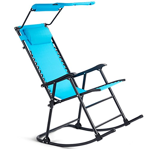 Goplus Folding Zero Gravity Lounge Chair Wide Recliner for Outdoor Beach Patio Pool w/Shade Canopy (Light Blue Rocking Chair) by Goplus