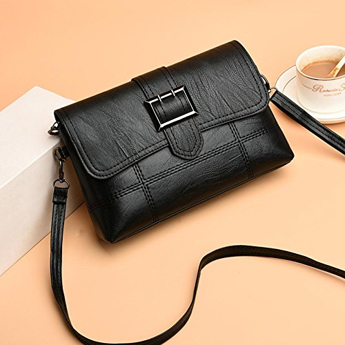 Messenger Shoulder Leather Flap Women Casual Everpert Bag Bag Pure Black Handbag PU AwS7EqnZ