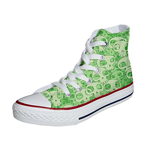 personalisierte Handwerk Green Produkt All Customized Skull Schuhe Converse Star tX7qHHP