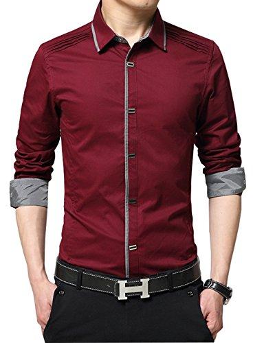 XTAPAN Men's Slim Fit Casual Long Sleeve Button Down French Cuff Dress Shirt US M=Asian 3XL Burgundy - Casual Shirts Cuff French