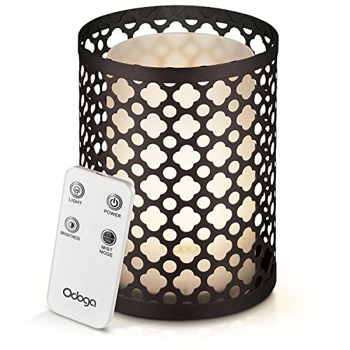 Price comparison product image Odoga Aromatherapy Essential Oil Diffuser with Decorative Iron Cover,  100 ml Ultrasonic Quiet Cool Mist Humidifier with Warm White Color Candle Light Effect,  Remote Control & Low Water Auto Shut-Off