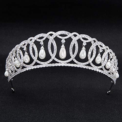 SepBridals Classic Cubic Zirconia CZ Pearls Wedding Bridal Tiara Crown Diadem Women Hair Accessories CH10223 by SEPBRIDALS (Image #2)