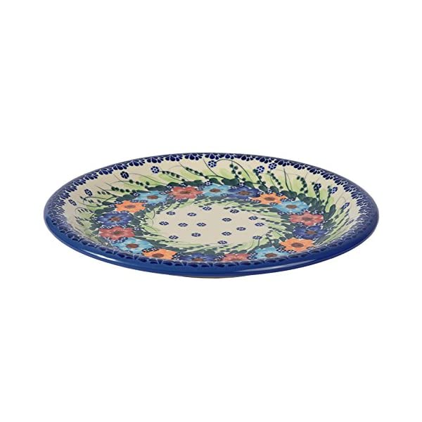 Traditional Polish Pottery, Handcrafted Ceramic Dinner Plate 26cm, Boleslawiec Style Pattern, T.301.Garland