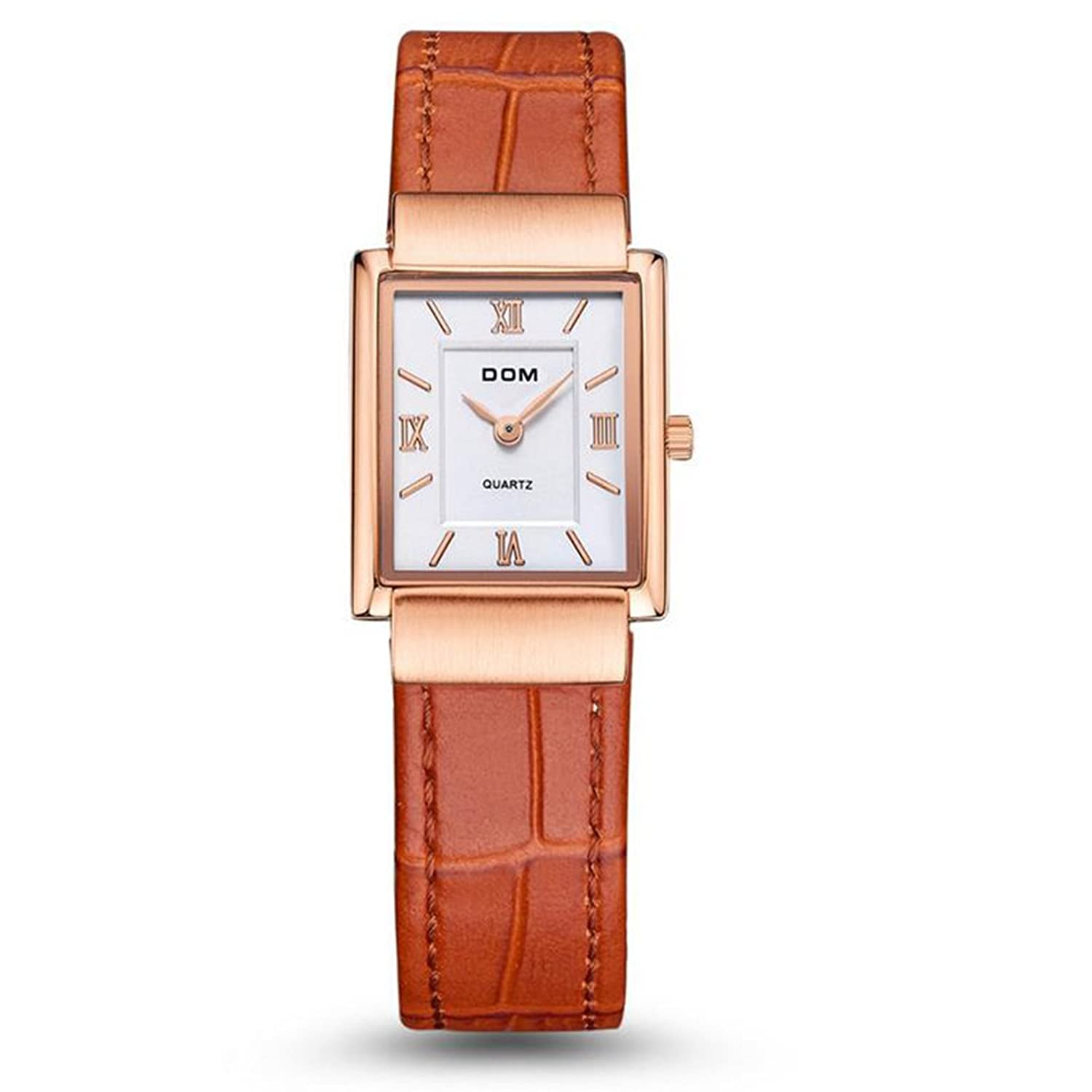 Amazon.com: Sheli Women Brown Leather Gold Tone Watch Luxury Brand Waterproof Style Quartz Square Watches: Watches