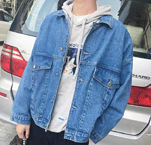 Howme Down Collar Button Casual Men Pockets Blue Turn Jacket Jeans Autumn rFCwfrxqE