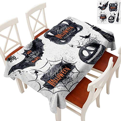 Vintage Halloween Elegant Waterproof Spillproof Polyester Fabric Table Cover Halloween Symbols Happy Holiday Witch Lives Here Broomstick Spider Web Tablecloths for Rectangle/Oblong/Oval TablesBlack -